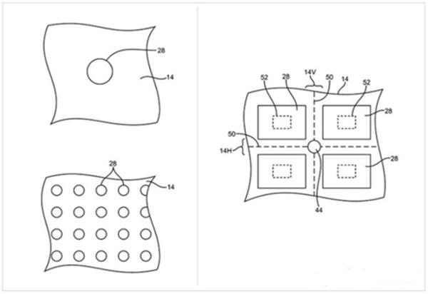애플이 10일 미특허청으로부터 디스플레이에 구멍을 뚫어 부품을 디스플레이 뒤로 배치할 수 있는 기술에 대한 특허를 받았다. 사진=미특허청, 애플인사이더