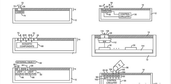 애플이 10일 특허받은 작은 구멍이 난 디스플레이 관련 특허를 적용한 디스플레이 측면 도면. 사진=미특허청, 애플인사이더