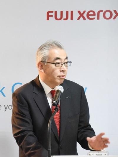 한국후지제록스 우에노 야스아키 대표이사 사장이 '스마트워크 게이트웨이(Smart Work Gateway)'  출시배경 및 신제품 소개를 하는 모습. 사진=한국후지제록스