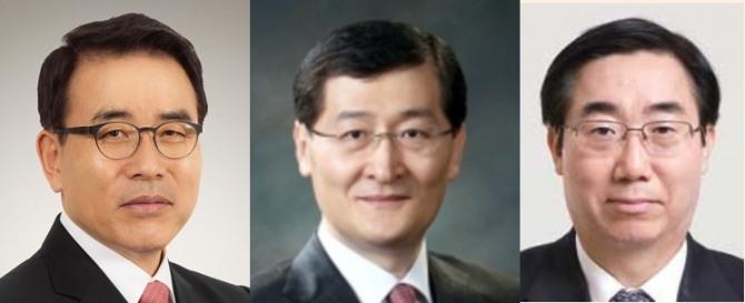 (왼쪽부터) 조용병 신한은행장, 위성호 신한카드 사장, 최방길 전 신한BNP파리바자산운용 사장