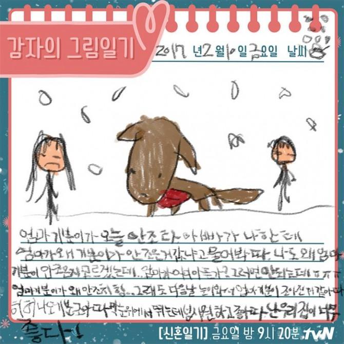tvN 금요 예능 '신혼일기' 제작진이 16일 공개한 안주와 감자의 그림일기/사진=tvN 공식 페이스북 캡처