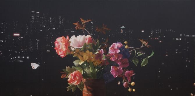 정창균 작 '명경지수-피고지고'. 260x130cm. oil on canvas. 2014