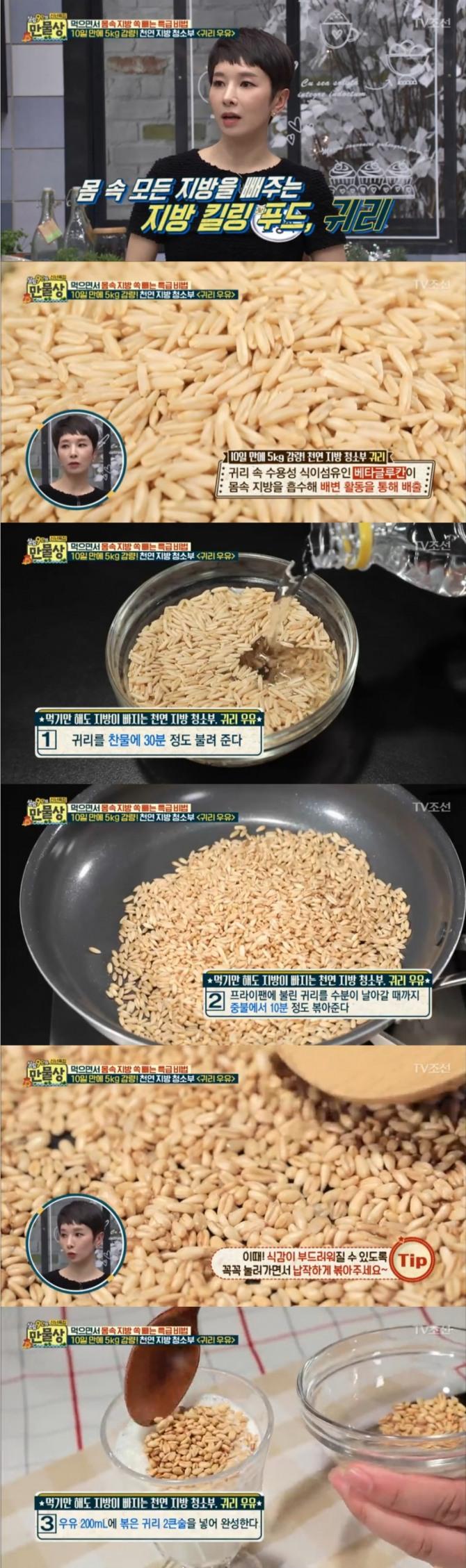 11일 밤 방송된 TV조선 '살림9단의 만물상'에서는 고정아 가정의학과 전문의가 출연, 다이어트에 도움이 되는 귀리우유만드는 방법을 공개했다. 사진=TV조선 방송 캡처