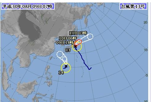[일본 기상청 태풍특보] 台風 第14号 (ヤギ) 예상 진로, 한반도 강타 폭염 중대기로 …한국 기상청 내일 날씨예보와는 큰 차이