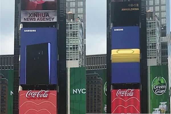 10일 오후 3시(현지시간) 미국 뉴욕 타임스퀘어에서 걸린 갤럭시노트9 광고. 사진=뉴욕.