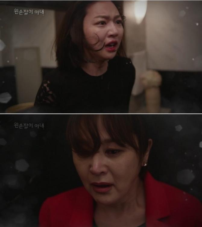 """15일 오후 방송되는 KBS2TV 일일드라마 '왼손잡이 아내' 50회에서는 장에스더(하연주)가 유전자 검사지를 내밀며 아들 박도경(김진우, 이수호 1인2역)의 행방을 추궁하는 조애라(이승연)에게 """"어머니가 죽였다""""라고 폭로하는 충격 반전이 그려진다. 사진=KBS '왼손잡이 아내' 50회 티저 예고 영상 캡처"""