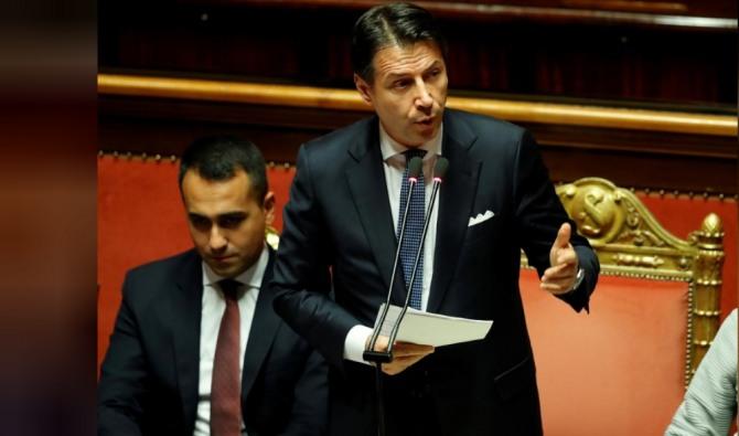 이탈리아 새 정부가 내년 재정 적자 목표를 GDP의 2.3%로 상향 조정하는 안을 추진하고 있다. 사진은 주세페 콘테 총리. 사진=로이터/뉴스1