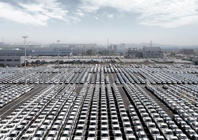 수출 차량들이 6일 현대글로비스 평택항 물류기지에서 대기하고 있다. 사진=현대글로비스 홈페이지