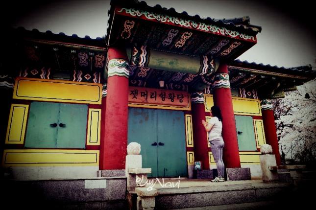 무속인 김금휘(금휘궁)씨가 잿머리성황당[城頭里城隍堂]에서 기도를 올리고 있다.