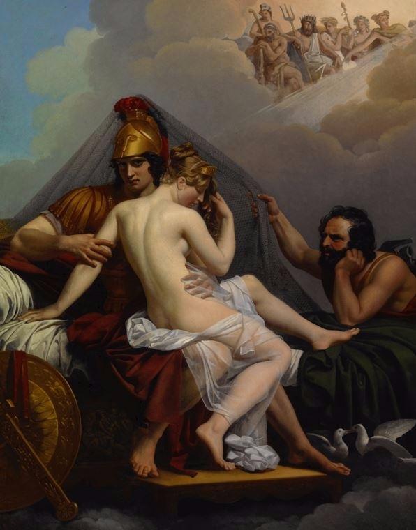 헤파이토스에게 붙잡힌 아레스와 아프로디테.