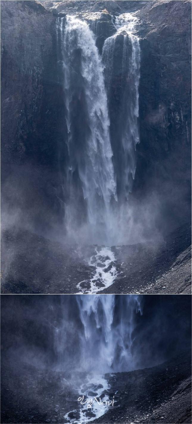 장엄하게 떨어지는 장백산 폭포 물줄기.