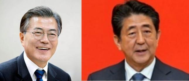 문재인 대통령(왼쪽)과 아베 신조 총리.