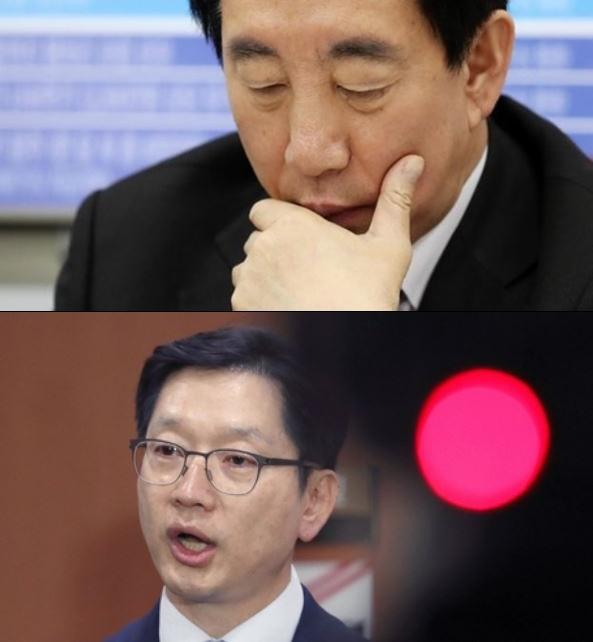 15일 김성태(위) 자유한국당 원내대표를 포함한 야당 의원들이 김경수 더불어민주당 의원에 대해 일침을 가하고 있다.