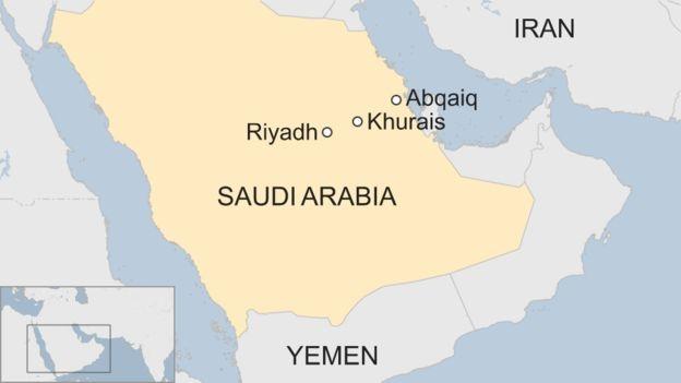 예멘과 사우디아라비아의 아바이크 정제단지와 쿠라이스 유전. 사진=BBC