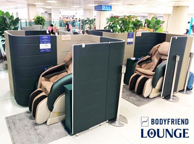 바디프랜드가 제주국제공항에 무인 안마의자 서비스를 제공하는 '바디프랜드 라운지'를 조성했다.  사진=바디프랜드